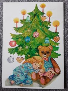 Pohlednice VÁNOCE kresba V.Klimtová