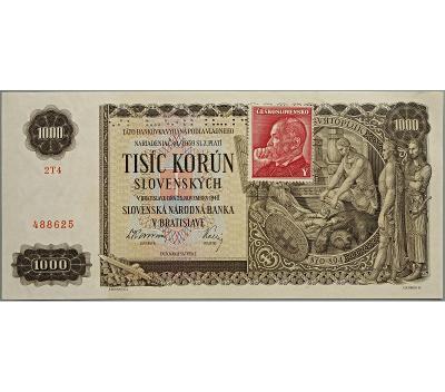 1.000 Ks/Kčs 1940, série 2 T 4, kolek 1945, perf. (SPECIMEN nahoře)