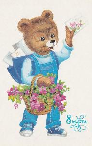 MDŽ 8.března - Medvěd s kyticí