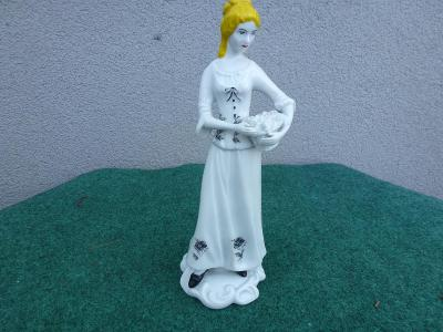 starožitná porcelánová soška -  dáma - ROYAL DUX