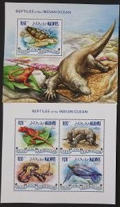 Maledivy 2014 Mi.5183-7+Bl.702 17,5€ Plazi, hadi a ještěři ostrovů