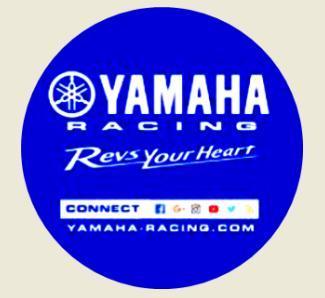 YAMAHA Racing, Revs Your Heart, logo typu, bílá samolepka pr.3-(2x).