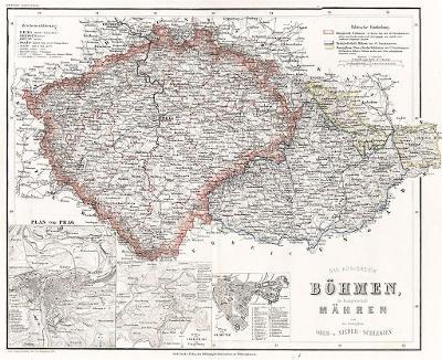 Böhmen Mähren , Meyer, kolor. oceloryt ,1863