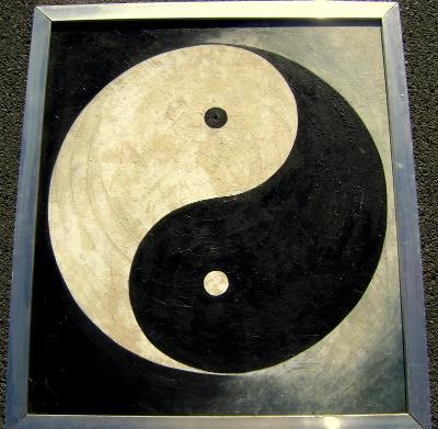 OLEJOMALBA PLÁTNO STAROŽITNÝ OBRAZ MODERNA JING - JANG - 85X76 cm.