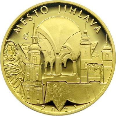 Zlatá mince 5000 Kč Městská památková rezervace Jihlava 2021 Proof