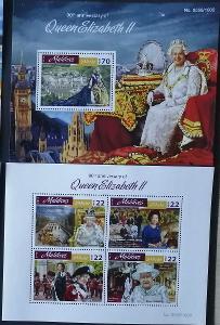 Maledivy 2016 Mi.6295-8+Bl.930 20€ 90 let královny Alžběty II.