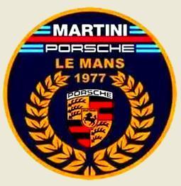 LE MANS PORSCHE MARTINI 1977, logo typu, bílá samolepka pr.3-(2x).