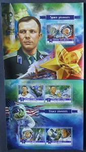 Maledivy 2015 Mi.5860-3+Bl.834 20€ Kosmonauti, Gagarin, Leonov