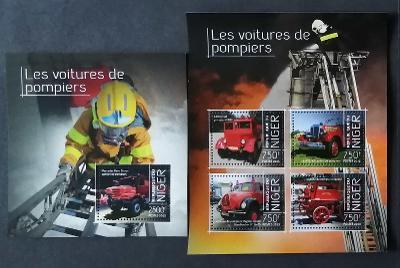 Niger 2013 Mi.2636-9+Bl.269 22€ Hasiči a jejich technika, auta