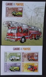 Niger 2013 Mi.2318-1+Bl.204 22€ Hasiči a jejich auta, požáry