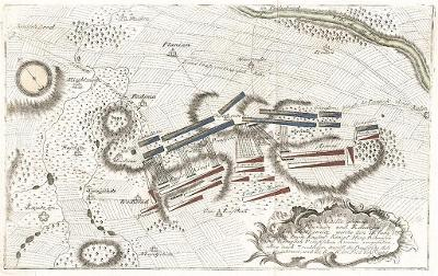 Kilian, Kolín Plaňany,  bitva plán, mědiryt 1759