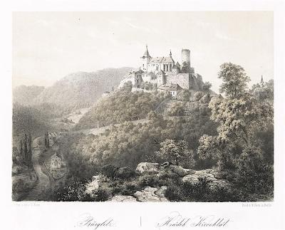 Křivoklát, Haun, litografie, 1860