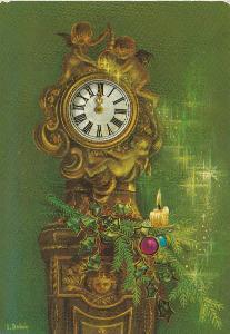 Nový rok - Hodiny prasátko(retro) 2x