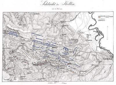 Kolín bitva , mědiryt, 1840