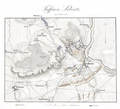 Lovosice bitva , mědiryt, 1840
