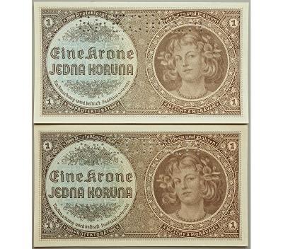 2× 1 K 1940, série H 015, H 023, perforovány (SPECIMEN nahoře)