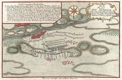Lovosice bitva plán, Friedrich, kolor.mědiryt 1759