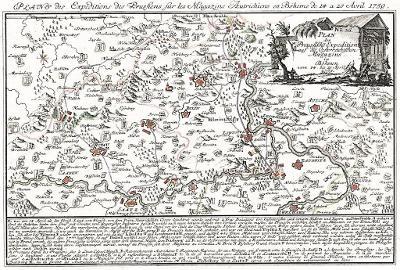 Ústí Litoměřice Žatec bitvy, mědiryt 1759