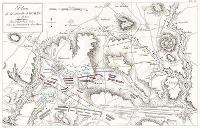Kolín Plaňany,  bitva plán, mědiryt 1759