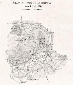 Lovosice  bitva 1756, litografie, 1831