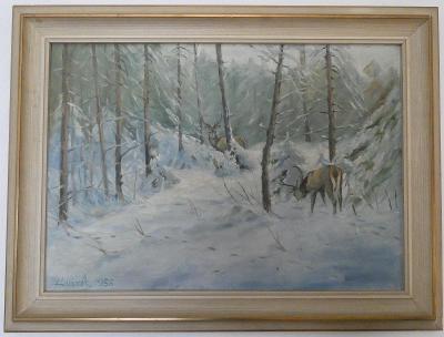 Vysoká na sněhu- sign. Hanzík 1958- malba na plátně s rámem 82 x 61 cm