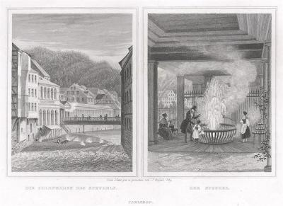Karlovy Vary vřídlo, Lange, oceloryt, 1842