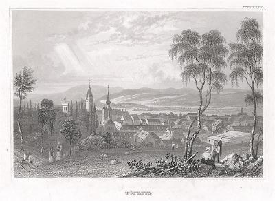 Teplice celkový pohled I., Meyer, oceloryt, 1850