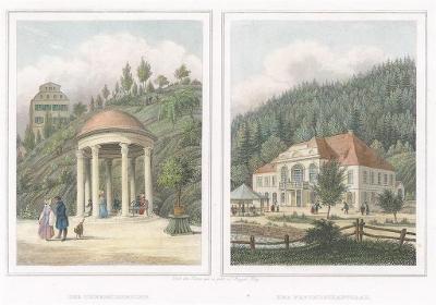 Karlovy Vary Theresienbrunn, kolor. oceloryt, 1842