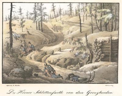 Krkonoše jízda na saních, kolor. litografie (1830)
