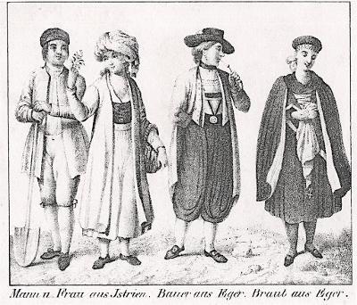 Cheb kroje, Istrie kroje litografie, (1860)
