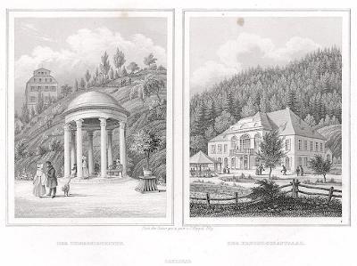 Karlovy Vary Theresienbrunn, oceloryt, 1842