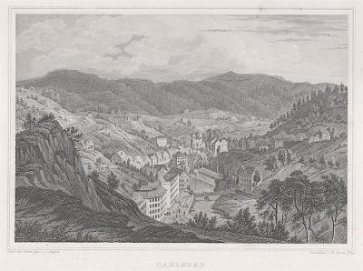 Karlovy Vary celkový pohled, Lange, oceloryt, 1842