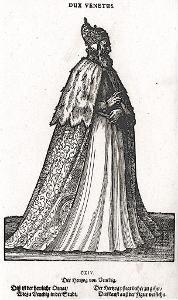 Italie Benátky dože  kroj, Amman, dřevořez, 1577