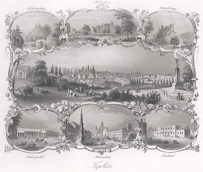 Teplice , Payne, oceloryt 1860