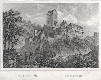 Karlštejn, litografie , 1841