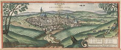 Louny, Braun Hogenberg, kolor. mědiryt 1617