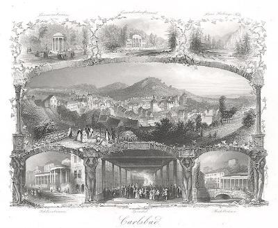 Karlovy Vary , Payne, oceloryt 1860