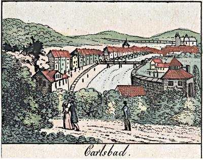 Karlovy Vary ,  kolor. litografie , (1830)