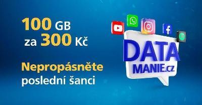 DATAMANIE - O2 SIM karta Datamánie 100GB/300Kč/měsíc/NOVÁ-poslední kus