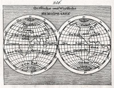 Svět hemisféry, mědiryt, (1830)