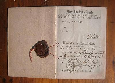 Knížka čeledínská 1881-,kolek 15kr. - vzácný výskyt s pečetí-100%stav