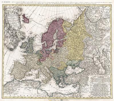 Homann Erben : Europa, mědiryt, 1743