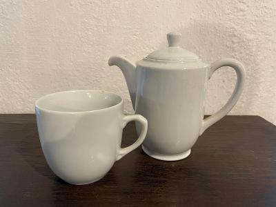 Starožitný bílý porcelán - hrnek a konvička - Bauscher Weiden D.R.P.