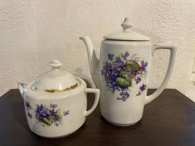Starožitný porcelán - cukřenka a konvička - značeno Czechoslovakia
