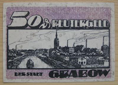Bankovka Německo - Grabow; 50 pfennig; 1921; stav viz fota