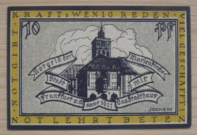 Bankovka Německo - Frankfurt; 10 pfennig; 1922; stav viz fota