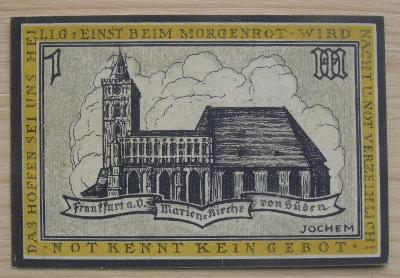 Bankovka Německo - Frankfurt; 1 marka 100 pfennig; 1922; stav viz fota