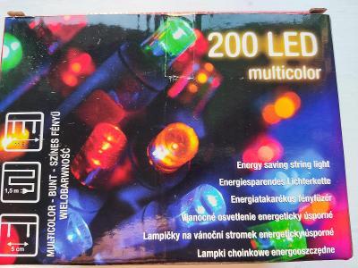 Nový vánoční 200 LED řetěz multicolor 11,5 m