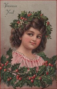 Nový rok * děti, děvče, cesmína, tlačená, gratulační * M2683