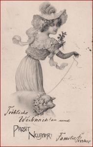 Nový rok * prasátko, žena, klobouk, secesní motiv, gratulační * M2703